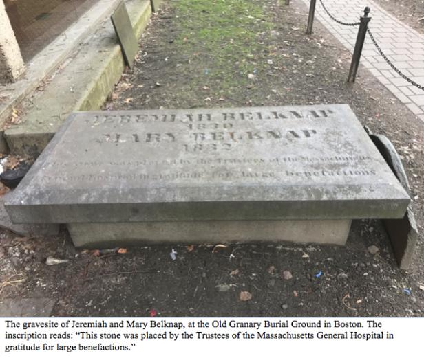 Belknap grave with caption