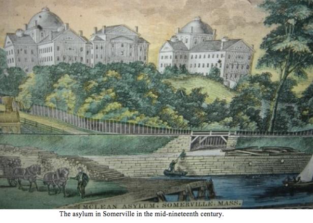 Portrait of Somerville asylum mid 1800s with caption